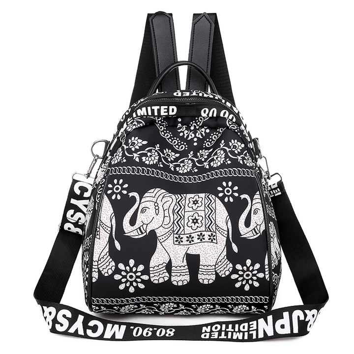 2019 new women's backpack bag wild print small bag fashion reversing dual-use ladies mini backpack White one size