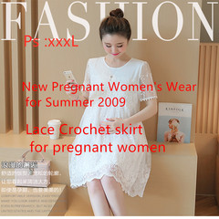 A new mid-long summer dress with Lace Crochet for pregnant women White M
