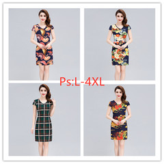 New fashionable Printed Dress for summer wear in 2019 women's stretch milk silk mother's Dance Dress l 11