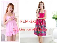 Large Sleepwear Sleepwear Loose Sleepwear Cotton Short Sleeve Dresses for Summer 2019 3xl 6+11