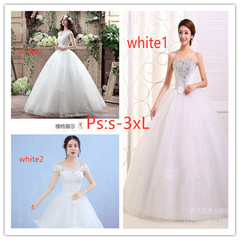 The new wedding dress of 2019,  The bride's wedding dress is large in size.  Toast suit s white1