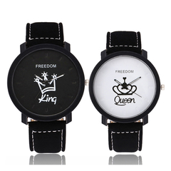 Pack Of 2/Set Couple Watch King/Queen Lovers Casual Quartz Watch Couple's Gift as picture onesize as picture onesize