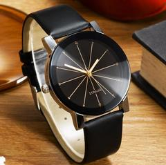 Only 199!Couple Watches Women/Men Fashion Watch Quartz Dial Clock Lovers Casual Leather Watch Man black onesize