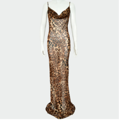 Fashion Women Sexy  Backless Leopard-pring  Dress Evening dress Party Club ladies dress S as picture