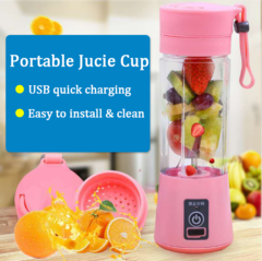 Mini Portable cyclone Juicer Cup Rechargeable Blender USB Juicer for Vegetables Fruit Bottle 380ml Green 380ml