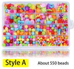 Children DIY beads 24 case beads toys handmade girls hand around beads wear necklace bracelet puzzle Style A one size