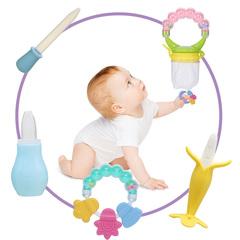 Baby Care 5 PCS/Sets Nasal Aspirator+Medicine Dropper+Banana Toothbrush+Molar Rod+Fruits Pacifier Random one size