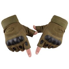 【Hot】Man Collection Outdoor Sports Military Tactical Airsoft Anti-slip Half Finger Gloves GREEN xl