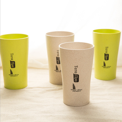 Wheat straw cup,Brushing cup ,Water cup,Milk breakfast cup 2pcs Beige and green 400ml