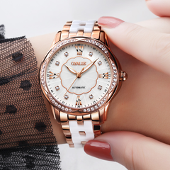Luxury high-end diamond watch automatic mechanical watch waterproof ceramic strap ladies watch Gold as shown