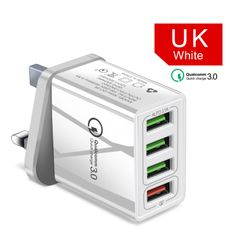 UK power plug 4 port USB Charger Quick Charge 3.0 Portable Wall Mobile Charger Fast Charger Socket White UK Plug
