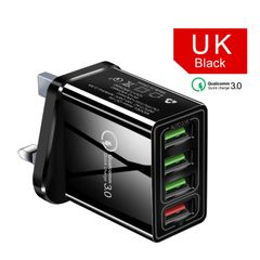 UK power plug 4 port USB Charger Quick Charge 3.0 Portable Wall Mobile Charger Fast Charger Socket Black UK Plug