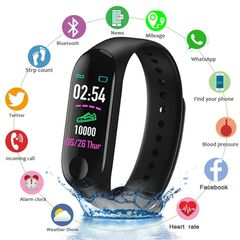 Smart Wristband IP67 Waterproof Smart Band Blood Pressure Heart Rate Activity Fitness Smart Bracelet Black one size