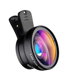 2 in 1 Smart Phone  Lens 0.45X Wide Angle Len & 12.5X Macro HD Lens Universal for iPhone Android Black one size