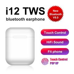 Wireless Headset i12 Touch key Bluetooth Earphone Stereo For iphone Samsung and More smart phone white