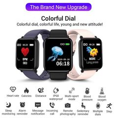 New Waterproof Smart Watch Heart Rate Blood Pressure Monitor Sports Fitness Bluetooth Smartwatch black one size
