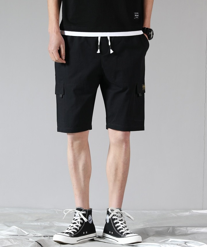 9 summer cotton shorts and five-minute beach pants casual men's pants in the pants black L