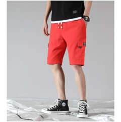 9 summer cotton shorts and five-minute beach pants casual men's pants in the pants red XL