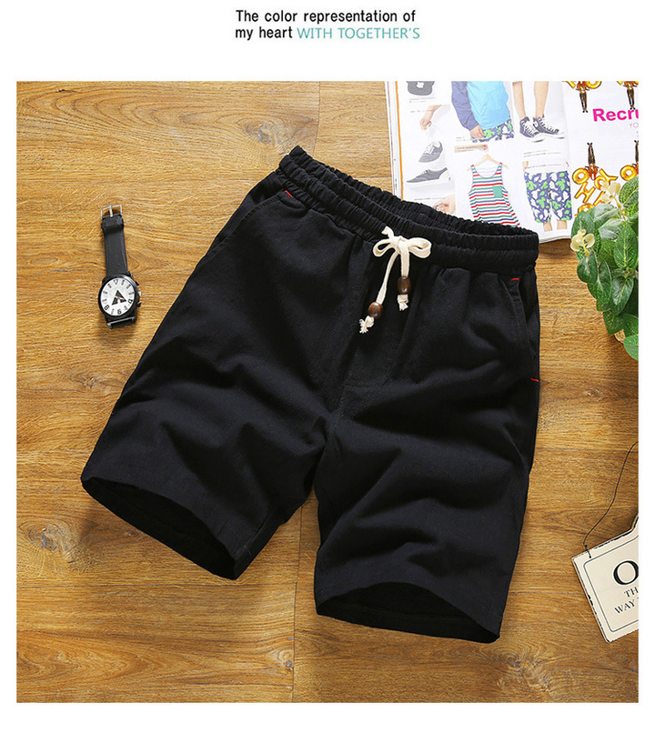 Summer solid color beach pants leisure vacation large size cotton trend three-point pants sports men black m