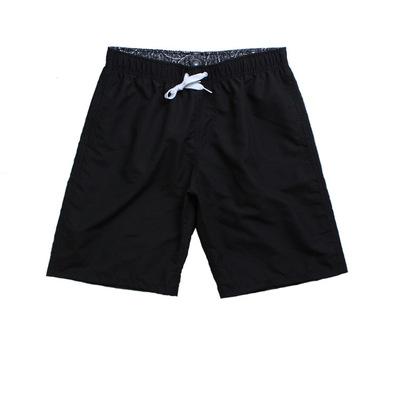 Summer solid color beach pants quick dry leisure vacation large size beach shorts men's surf pants black m