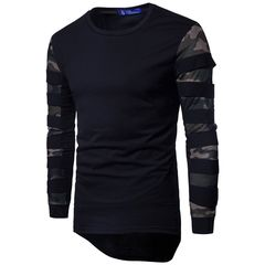 Spring and autumn new long T-shirt camouflage net fabric stitching long sleeve jumper men BLACK L