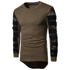 Spring and autumn new long T-shirt camouflage net fabric stitching long sleeve jumper men ARMY GREEN M