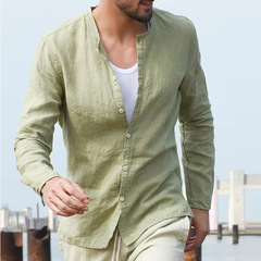 Cotton and linen men's new shirt leisure Europe and America pure color long simple collar shirt