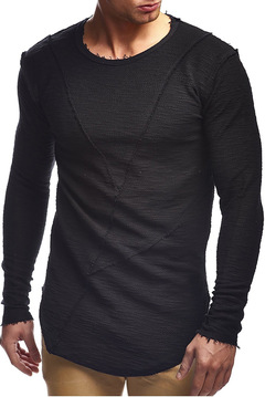 New patchwork men's base T - shirt European and American snow point long-sleeve casual shirt black XXXL