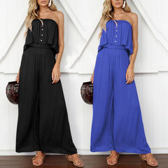 2019 summer new wide-leg pants bare shoulders sexy solid color jumpsuit women's pants blue 2xl