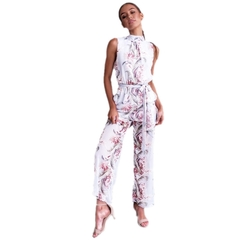 Summer's new temperamental-print jumpsuit backless high-waisted chiffon ladies white m