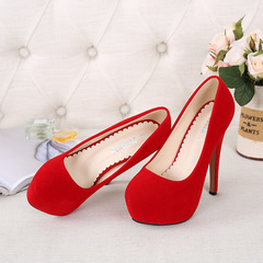 European and American high - heeled platform high - heeled women elegant single - shoe thin heel red 39