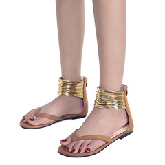 Popular in Europe and the United States Roman flat toe fashion women's gold ring flat sandals brown 38