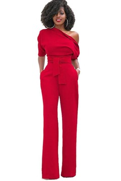 European and American classic monochrome slant neck jumpsuit with wide legs red xl