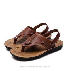 2019 summer new men's casual flip-flops fashion sandals beach shoes brown 44