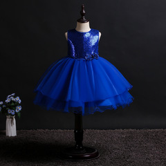 Mesh sequined tuxedo dress girl's dress acting dress frocks cute sleeveless dress dark blue 160cm