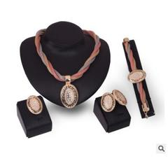 New hot European and American exaggerated necklace earrings bracelet ring four-piece party set rose gold ONE SIZE