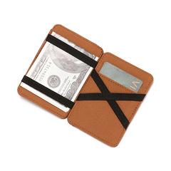 Korean horizontal PU magic wallet man creative zipper wallet card holder brown one size