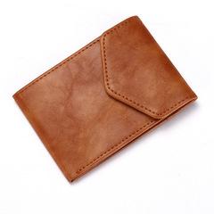Creative versatile super thin buckle PU card bag fashion change wallet man brown one size