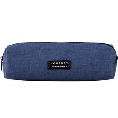 Simple canvas student pencil bag business office pure color cute fresh pencil case dark blue