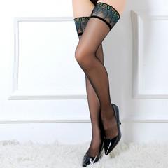 Ultra-thin transparent peacock feather stockings black stockings temptation ladies