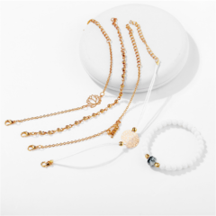 New European and American carved beads white pine stone five piece set hand string women white+gold one  size