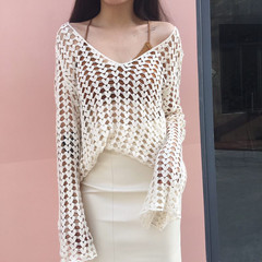 New Hong Kong style retro hollow hook flower long sleeve loose versatile show thin blouse woman white one size