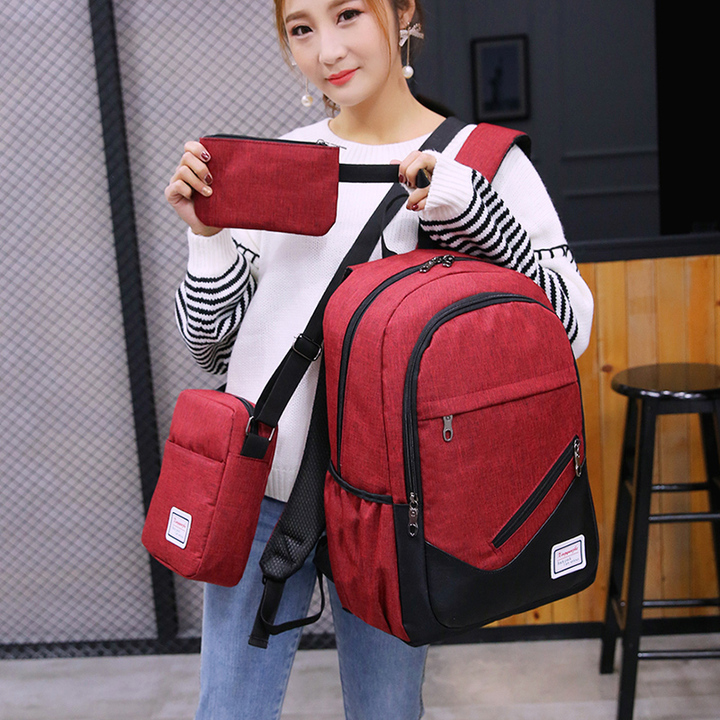 Three-piece college wind student backpack men and women street casual wild backpack travel bag navy blue one size