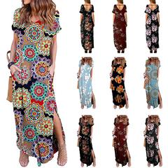 2019 Summer Dress Bohemia Print Short Sleeve O-Neck Ankle-Lengh Straight Slit Dress Item specifics s 1