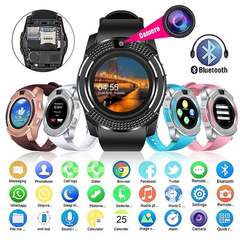 New V8 Wireless Smart Watch Bluetooth Reminder Monitor Anti-lost Camera for Android black one size