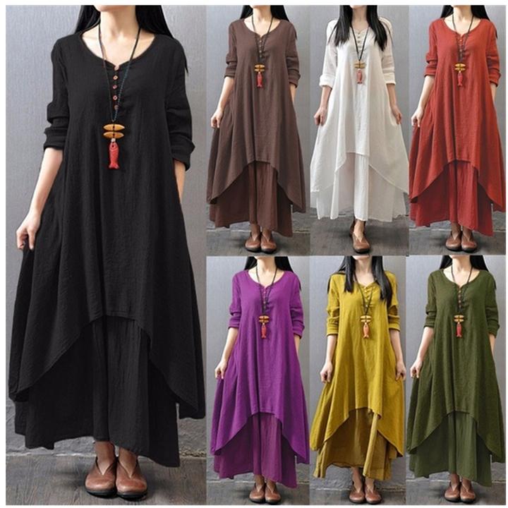Women Vintage V Neck Cotton Linen Long Sleeve Tunic Baggy Double Layers Loose Maxi Dress Plus Size l orange