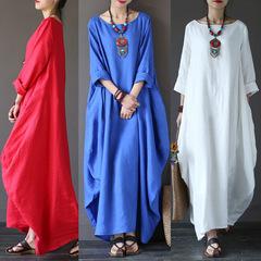2019 New Summer Maxi Dress Baggy Batwing Sleeve Cotton Linen Long Dresses Bohemia Long Robe Dress l black