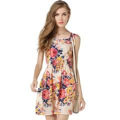 BNS 2019 Women Summer Dress Boho Apricot Sleeveless O-Neck Florals Print Pleated Party Formal Dress m 2