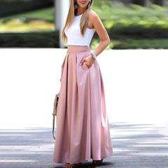 BNS 2019 Women Elegant Casual Two-Piece Suit Set  Sleeveless Cropped Top & Pleated Maxi Skirt Sets xl pink