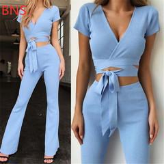 BNS 2019 Women  V-neck  Lace Up Crop Top T-shirt Tee + Length Pants Suit Two Piece Set xl blue